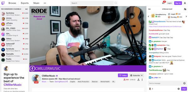 Twitch music streaming